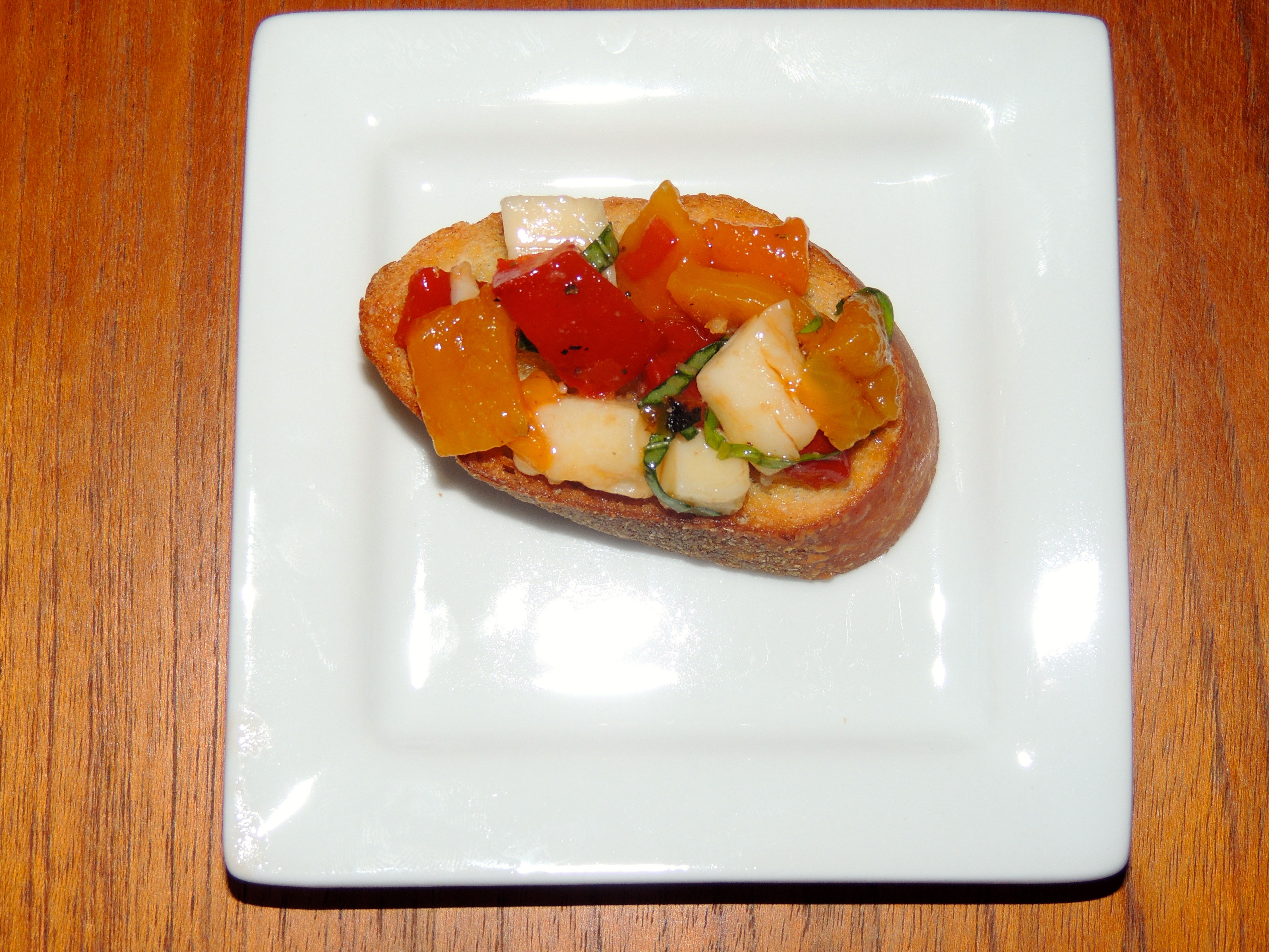 Provolone and Roasted Bell Pepper Bruschetta.